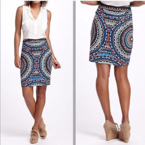 Anthropology Tabitha Olmeda Graphic  Pencil Skirt